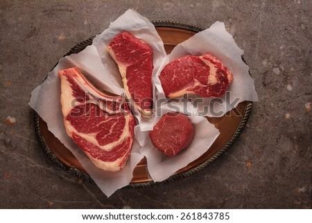 raw prime meat beef pork lamb cuts - stock photo