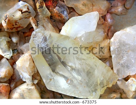 Raw quartz rocks. - stock photo
