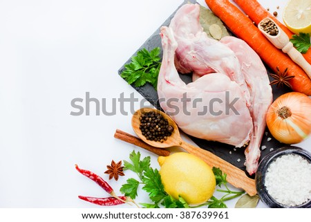 Raw rabbit legs with ingredient isolated on white background top view empty space for text - stock photo