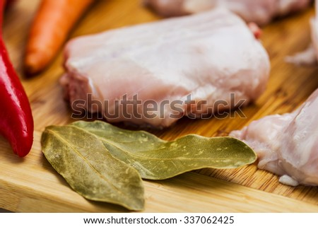Raw rabbit with black pepper and allspice