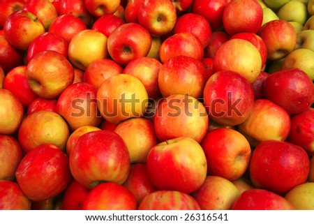 raw red apple heap on market show tray - stock photo