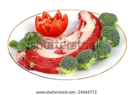raw red meat steak on white dish