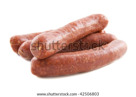 Raw red sausage isolated on a white background - stock photo