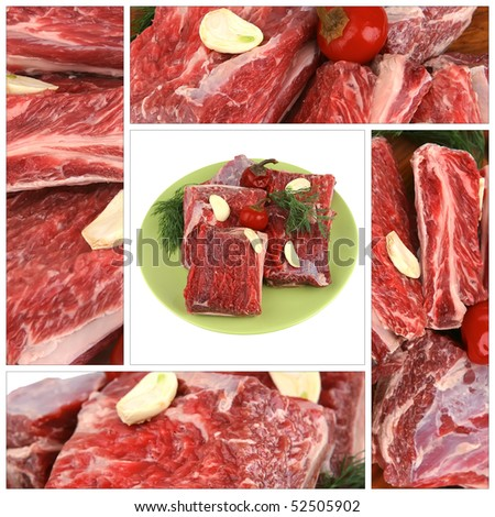 raw ribs served with greenery on green dish - stock photo