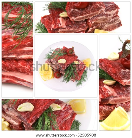 raw ribs served with greenery on white plate - stock photo