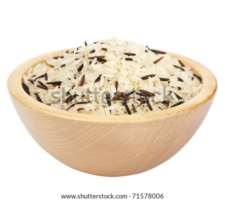 raw rice in  bowl isolated - stock photo