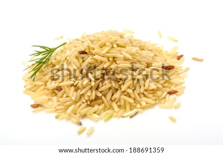 Raw rice mix heap isolated