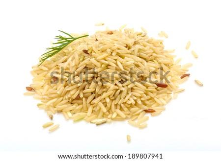 Raw rice mix heap isolated - stock photo