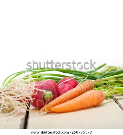 raw root vegetable on a rustic white wood table - stock photo