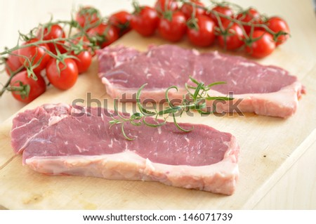 raw rump steak - stock photo