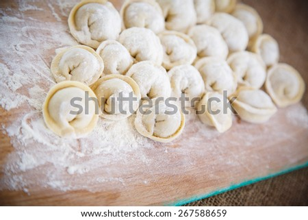raw Russian ravioli with meat on a wooden board - stock photo
