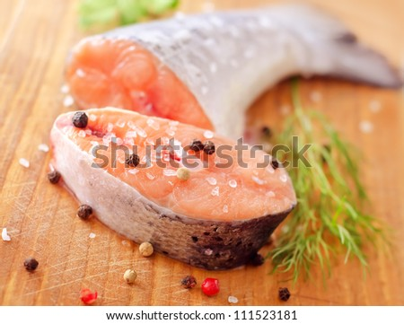 raw salmon - stock photo