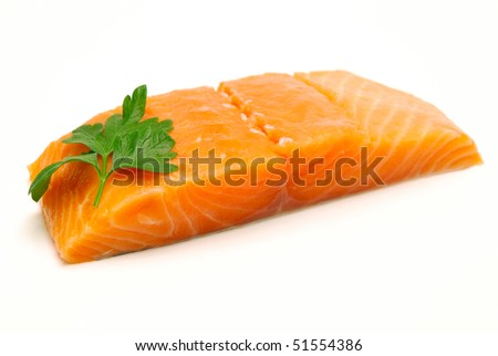 raw salmon fillet isolated - stock photo
