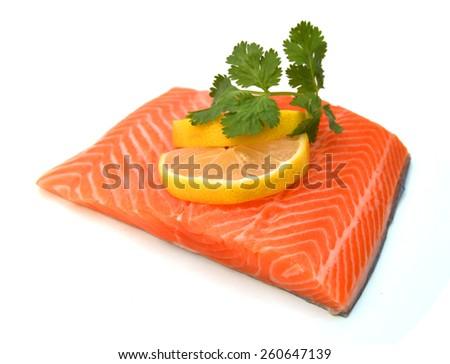 raw salmon fillet isolated on white background  - stock photo