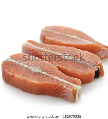 Raw Salmon Fillet On White Background