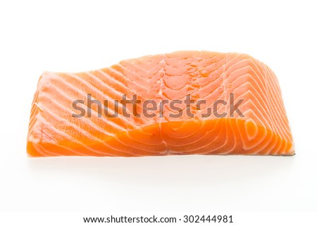 Raw salmon meat isolated on white background - stock photo