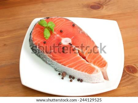 Raw salmon steak - stock photo