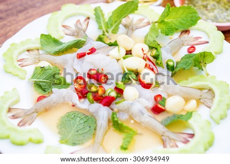 Raw shrimp in fish sauce,hot and spicy,seafood