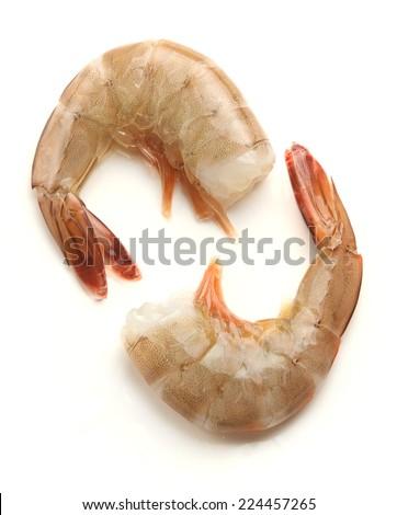 raw shrimp on white background. - stock photo