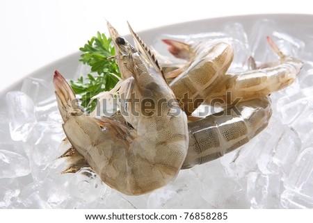 Raw Shrimps - stock photo