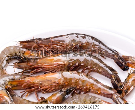 raw shrimps. Isolated on a white background.  - stock photo