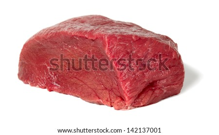 Raw sliced meat placed on white background, food concept
