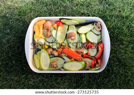 raw sliced   spring vegetarian vegetables in a pot on the green grass - stock photo