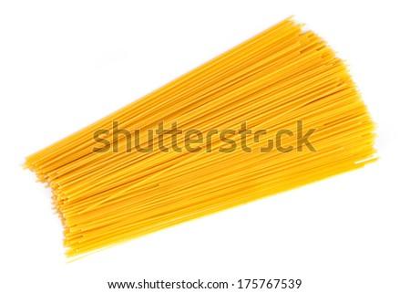 Raw spaghetti on white background. - stock photo