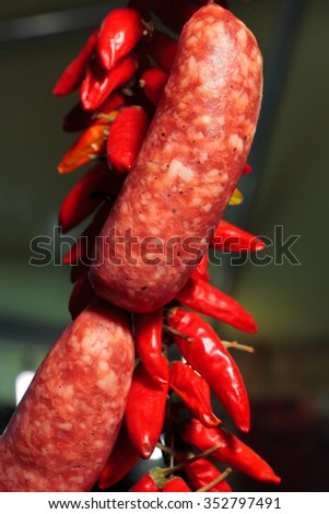 Raw spicy sausage whit hot red pepper seasoning - stock photo