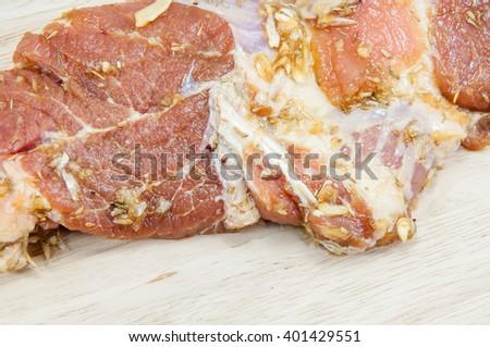 raw steak on wooden - stock photo