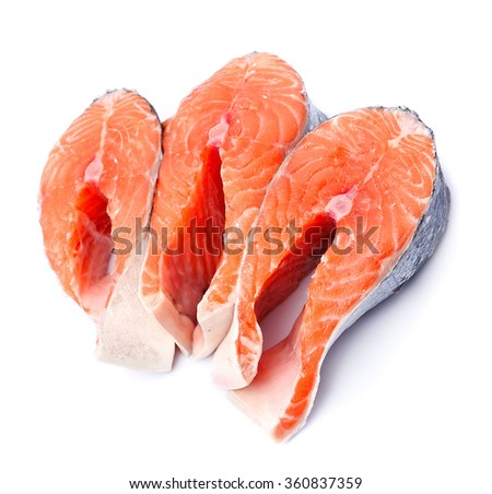 Raw steak salmon fish. Red fish closeup on white - stock photo