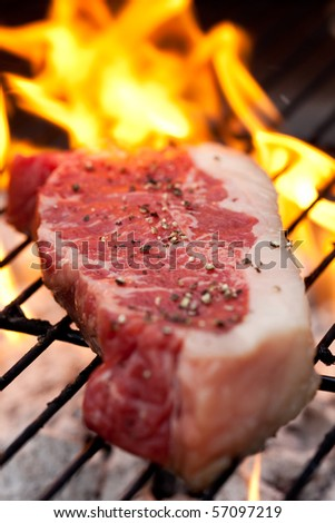 Raw steak with pepper on the barbecue - stock photo