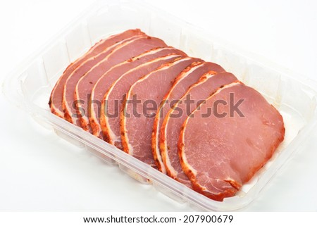 raw steaks marinated pork loin isolated in white - stock photo