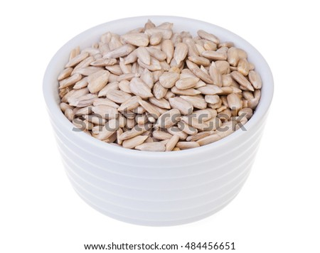 Raw sunflower seeds (no shell) on white background
