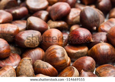 Raw  sweet chestnuts. Ready for cooking.