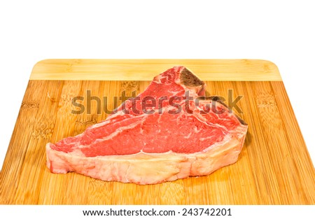 Raw T-bone on white background - stock photo