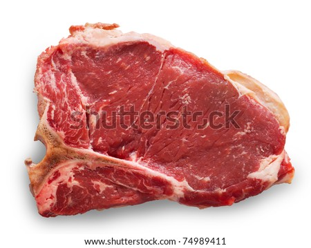 Raw t-bone or porterhouse cut meat isolated on a white background with added shadow. Clipping path into the file. - stock photo