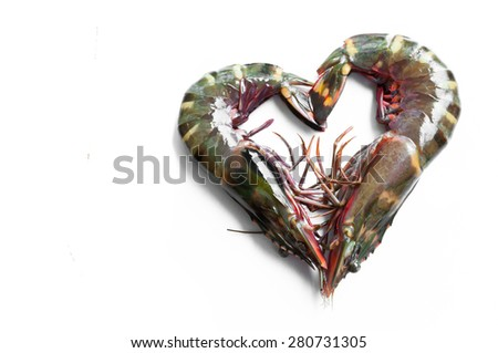 Raw Tiger prawn ready for cooking - stock photo