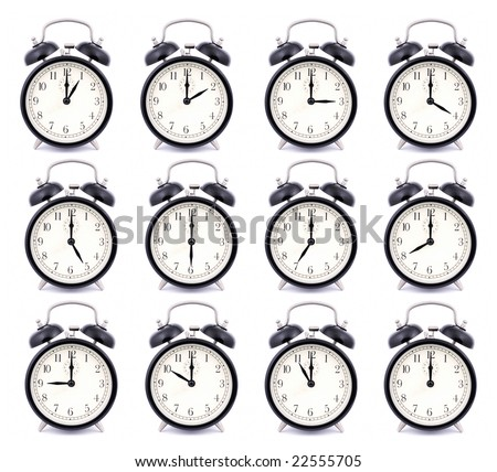 RAW – Time Collection of Alarm Clock - stock photo