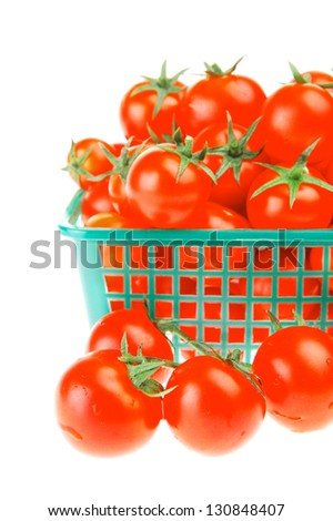 raw tomato cherry in basket