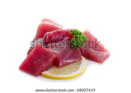 raw tuna on white background - stock photo