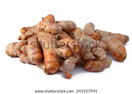 Raw turmeric on white background  - stock photo