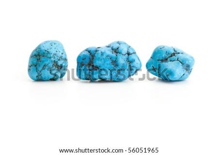 raw turquoise isolated on white - stock photo
