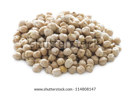 raw uncooked dry chickpeas isolated on white
