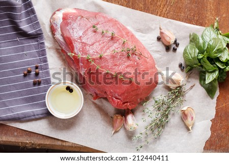 raw veal meat with spice - stock photo