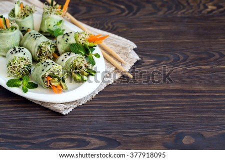 Raw vegan rolls with sprouted seeds. - stock photo