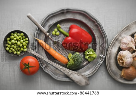 Raw vegetables vintage background close up shoot