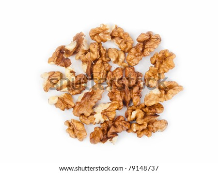 Raw walnuts on white background