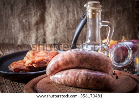 Raw white sausage - Polish culinary specialty.