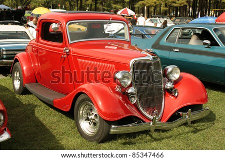 RAWDON, CANADA - SEPTEMBER 24: FORD Model Coupe 1934 year on display at the Vintage Car Parade Exhibition 2011 on September 24, 2011 in Rawdon, Canada. - stock photo